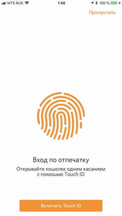 вход в личный кабинет по отпечатку пальцев