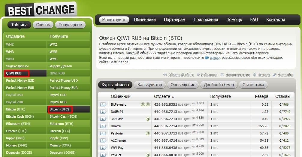 покупка биткоинов за qiwi rub через обменник